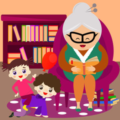Illustration of a cute grandmother reading a tale to her grandchild.