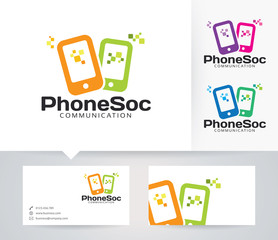 Phone Social vector logo with alternative colors and business card template