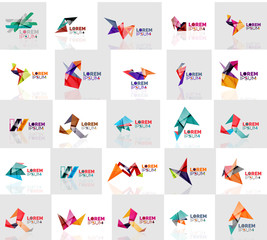 Collection of colorful abstract origami logos