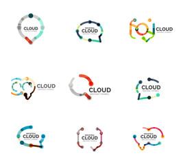 Flat linear design speech cloud logo. Talk bubble, modern geometric industrial thin line icon