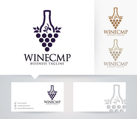 Wine Company vector logo with alternative colors and business card template
