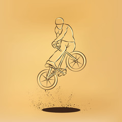 Trick on the BMX bike. Vector retro drawing illustration.