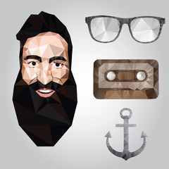 Hipster design with hipster elements and icons.Vector illustration