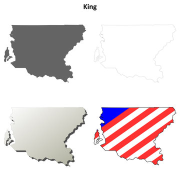 King County, Washington outline map set