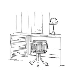 Hand drawn workplace. Furniture sketch
