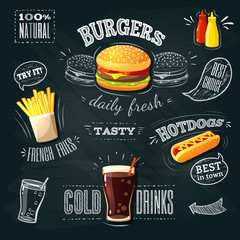Fototapeta Chalkboard fastfood ADs - hamburger, french fries and hotdog. Vector illustration, eps 10. obraz