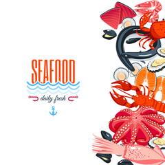 Background with cartoon food: seafood - tuna, salmon, clams, crab, lobster. Vector illustration, eps 10.