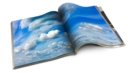 isolated image of magazine with a sky close-up