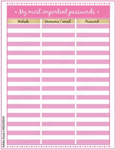 graphic regarding Password Tracker Printable named Pword tracker Printable Planner Site Minimalistic purple