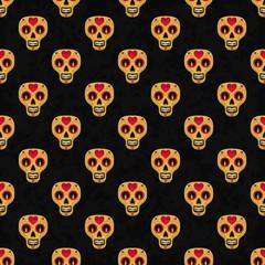 Dia de Muertos cartoon Skull Ornate Day of The Dead seamless pattern