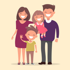 Happy family . Father mother daughter and son together. Vector i