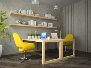 Interior of modern  design office with two table 3D rendering  2