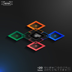 Vector infographics template with rhomb