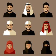 set of flat muslim avatars, vector arab people icon,  saudi characters