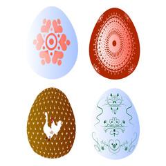 набор из 4 крашенных яиц на белом фоне