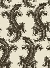 Vector lizards wrapping paper, seamless pattern with reptiles