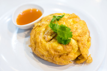 Delicious crab fries egg in Thai Style omelet