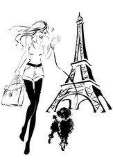Fotomurales - fashion woman with little dog near Eiffel Tower