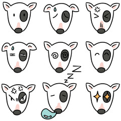 vector set of dog faces, bull terrier