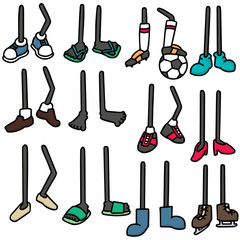 vector set of cartoon legs