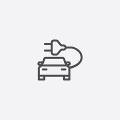 electro car outline, thin, flat, digital icon