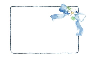 カード、りぼん、ブルー