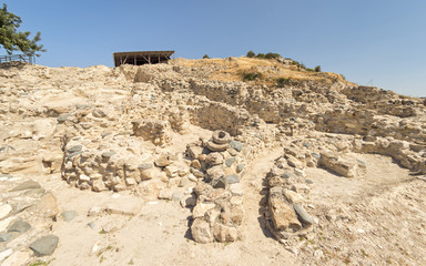 Choirokoitia (Khirokitia) Neolithic Settlement of 7-4-th millennium B.C. fisheye view. World Heritage Site by UNESCO. Cyprus.