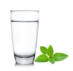 Glass of water with sweet basil  isolated on white background
