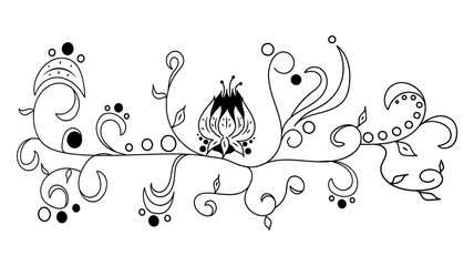 Black vector hand drawn doodle flower