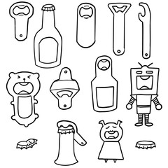 vector set of bottle opener