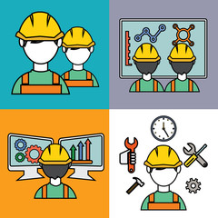 Engineer construction manufacturing workers set