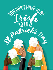 You don't have to be Irish to love St. Patrick's Day toasting hands party poster.