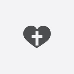 heart cross icon on white background