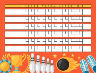 Bowling score sheet. Blank template scoreboard with game objects