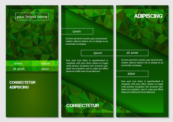 Design Abstract Vector Brochure Template. Flyer Layout, Flat Style, Infographic Elements with triangle pattern