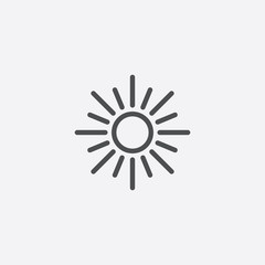 sun outline, thin, flat, digital icon.