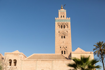 minaret of the 12th century Koutoubia mosque in Marrakech