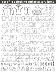 Set of Line  Clothing Icons.