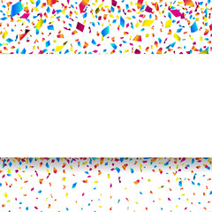 White banner with colorful falling confetti. Vector illustration.