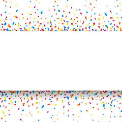 White banner with colorful confetti. Vector illustration.