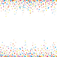 Celebration background with colorful confetti – seamless confetti borders on white background. Vector illustration.