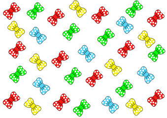 multi-colored bows with white circles on a white background