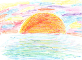 children's drawing colorful sunset