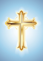 Gold Cross on blue background. Christian Symbol. Vector illustration