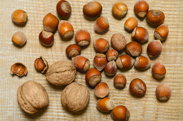 Nuts scattered on the old boards