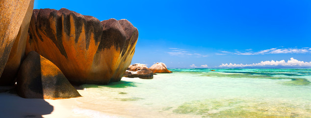 Panoramic view of a tropical island beach, Seychelles, Indian Ocean.