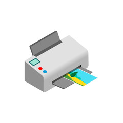 Color photo printer icon, isometric 3d style
