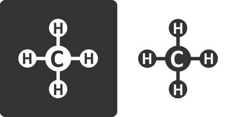 Methane (CH4) natural gas molecule, flat icon style.
