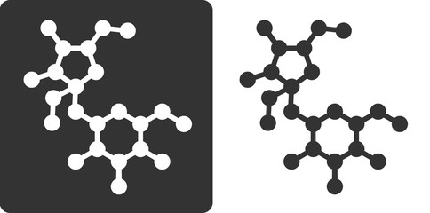 Sugar (sucrose, saccharose) molecule, flat icon style.