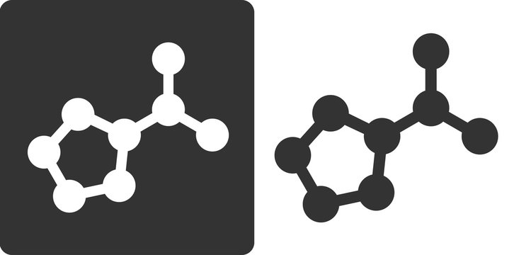 Proline amino acid molecule, flat icon style.